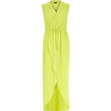 River Island Womens Lime green wrap front maxi dress