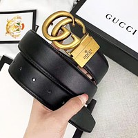GUCCI New fashion letter buckle leather couple belt Black width 3.4cm With Box