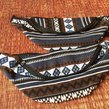 Festival Tribal Fanny pack boho Styles cycling bag Hippie Hipster phanny waist Bum bag Ethnic Ikat Bohemian Stripes Multicolor in blue men