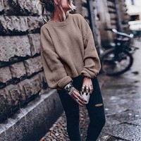 Cashmere Sweater Women Oversize For Women Warm Winter And Autumn Long Sleeve O-neck Solid Color Lantern