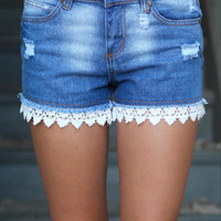 Just Lace-ing Around Shorts {blue jean}