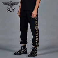 Boy London 2019 new men's side fight geometric gold letter knit pants