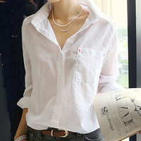 White Long Sleeve Chiffon Blouse with Collar