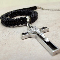 Men's Crucifix Cross Necklace:  Father's Day Jewelry, Macrame Black Leather St. Benedict Religious Medal