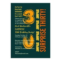 SURPRISE 30th Modern Birthday Green Gold Orange Invite CHANGE Year and All Text - PERSONALIZE!