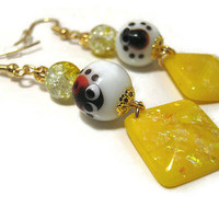 Lady Bug Earrings Yellow Sparkle Drop Beaded Hypoallergenic Gold Plated Surgical Steel Earwires Womens Modern Summer Spring Fashion Jewelry