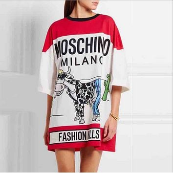 Moschino Amoi Dairy catwalk in the long section of T-shirt letters loose short-sleeved dress
