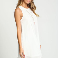 WHITE BACK KEYHOLE CHIFFON DRESS