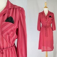 Vintage 80s Candy Striped Secretary Dress Pink and Red with Black pocket Square!