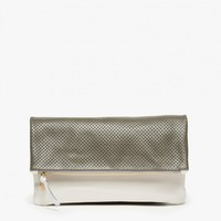 Clare V. / Foldover Clutch in Grey Perf