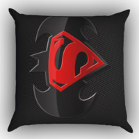 BATMAN AND SUPERMAN LOGO Zippered Pillows  Covers 16x16, 18x18, 20x20 Inches