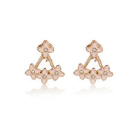 River Island Womens Pink pretty flower front and back earrings
