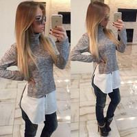 Women's Trending Popular Fashion 2016 High Collar Neck T-Shirt _ 8722