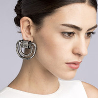 Black Loop and Rhinestone Earrings