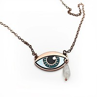 Ersa Eye Necklace With Moonstone Teardrop