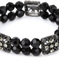 """1928 Jewelry Double Beaded Black and Crystal Stretch Bracelet, 7"""""""