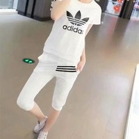 """Adidas"" Fashion Casual Multicolor Letter Print Short Sleeve Set Two-Piece Sportswear"