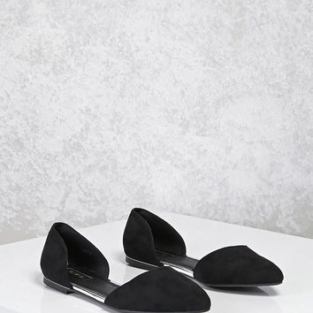 Faux Suede Pointed Toe Flats
