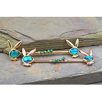 Gold or Rose Gold Abalone Shell Playboy Bunny Industrial Barbell