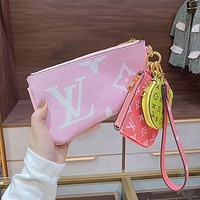 Louis Vuitton LV new product color matching letter print ladies three-piece key case cosmetic bag-2