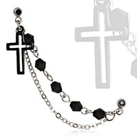316L Surgical Steel Black IP Plated Chained Cross Cartilage Earring
