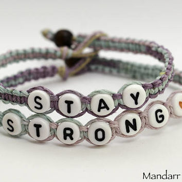 CLEARANCE SALE - Stay Strong Bracelets in Pastel Hand Knotted Hemp, Jewelry for Recovery or Mental Health Half Price Ready to Ship