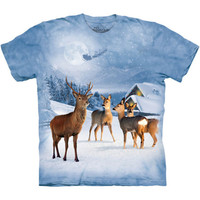 DEER IN WINTER The Mountain Reindeer Christmas Santa Flying Sleigh T-Shirt S-3XL
