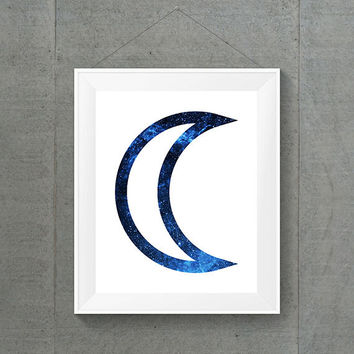 Blue Galaxy Moon Print, Space Home Decor, Blue Dorm Decor, Galaxy Dorm Decor, Galaxy Nursery Room, Galaxy Baby Decor, 8x10 Print