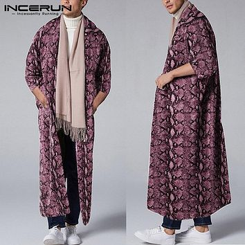 INCERUN Fashion Men Personality Leopard Print 3/4 Sleeve Trench Cardigan Street Trend Chic Baggy Mens Casual Windbreaker Jackets