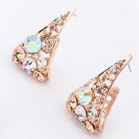 Glittering Golden Triangle Wrapping Earrings