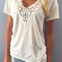 Casual Fashion Spliced V neck Lace Up Solid Color Top