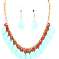 Turquoise Teardrop Beaded Chain Necklace