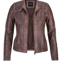 plus size distressed moto jacket with ribbed knit sides