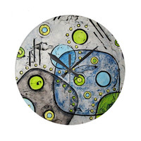 Mid Century Modern Wall Clock abstract design, decoarative wall clock  in blues, lime green and gray