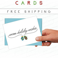 Sweet Christmas Card, Cute Holiday Card, Hand Drawn Card, Illustrated Greeting Card, Mittens, Cozy, Warm, Illustrated, Artist Christmas Card