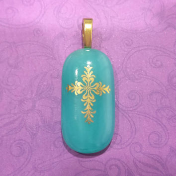 Cross Pendant, Fused Glass Jewelry Slide, Turquoise Green, Gold Cross, Large Gold Bail - Watch Over Me - 5
