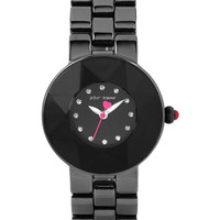 Betsey Johnson Ladies Faceted Crystal Bezel Watch