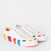 Women's White Leather 'Nolan' Trainers With Multi-Coloured Soles