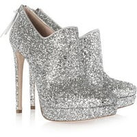Miu Miu Glitter-finish leather ankle boots – 50% at THE OUTNET.COM