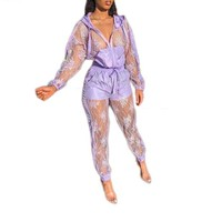 Women Casual Fashion Two Piece Lace Long Sleeve Hooded Jacket Pant Set