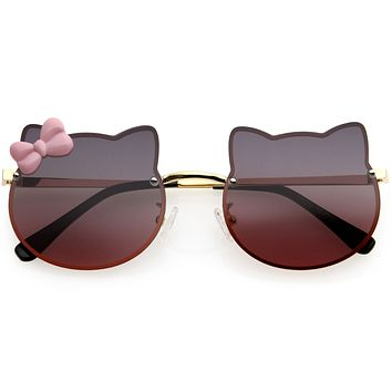 Kids Cute Bow Accented Metal Girls Cat Shaped Sunglasses D238