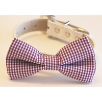Purple Dog Bow Tie with collar, Cute Dog Bow tie, Purple Wedding accessory , Wedding dog collar