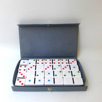 Vintage collectable mid century set Cardinal coloured dot dominos