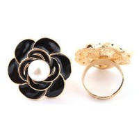 8 Pieces of Gold with Black Flower with Simulated Pearl Adjustable Ring