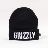 Puff Embroidery Beanie in Black
