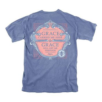 Grace Carried Me Here Tee in Marine Blue by Lily Grace