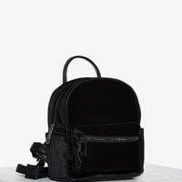 Margot Velvet Mini Backpack - Black