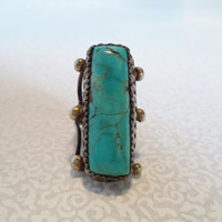 Turquoise and silver pinky ring/ vintage Native American turquoise ring/ boho pinky ring/ size 4-4.5