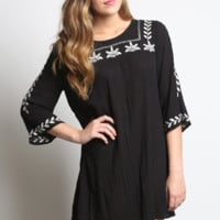 Umgee Embroidered Mini Bell Tunic Dress