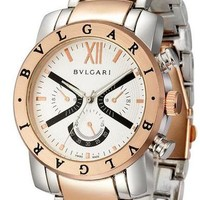 Bvlgari Ladies Men Fashion Casual Quartz Watches Wrist Watch Sliver+Rose Golden G